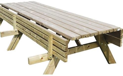 Picknicktafel Oslo, afm. 300 x 154 cm, geimpregneerd grenen, houtdikte 42 mm, opklapbare zitting-2