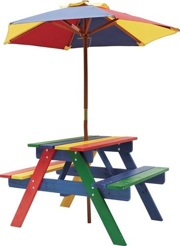 Kinderpicknicktafel Rainbow, afm. 75 x 85 x 53 cm, inclusief parasol, gekleurd hout