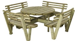 Picknicktafel, rond, bladmaat Ø 120  cm met rugleuning, geimpregneerd grenen, houtdikte 42 mm