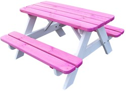 Kinderpicknicktafel, bladmaat 90 x 38 cm, roze/wit