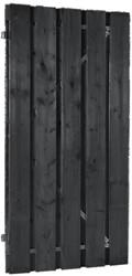Plankendeur, om en om, op stalen frame, afm. 100 x 190 cm, zwart