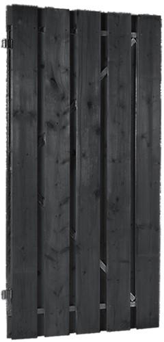 Plankendeur, om en om, op stalen frame, afm. 100 x 180 cm, zwart