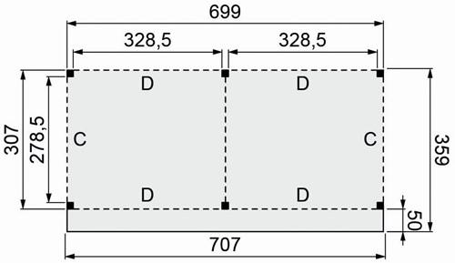 Douglasvision buitenverblijf Basis, afm. 700 x 310/359 cm, douglas -2