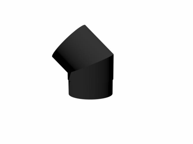 Burni verwarming rookkanaal, 45 graden (smoke flue) - 154 mm - RAL 9005 gitzwart
