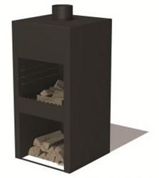 Burni deur voor Stig terrashaard, afm.  45 x 40 cm, 3 mm cortenstaal, zwart gecoat
