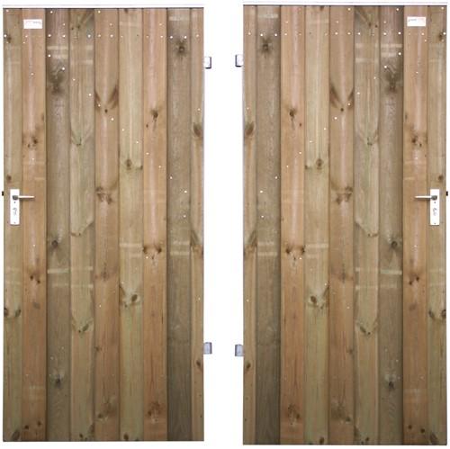 Tuindeur, dicht, dubbelzijdig bekleed, op stalen frame, afm. 100 x 190 cm, rabat of gg-delen