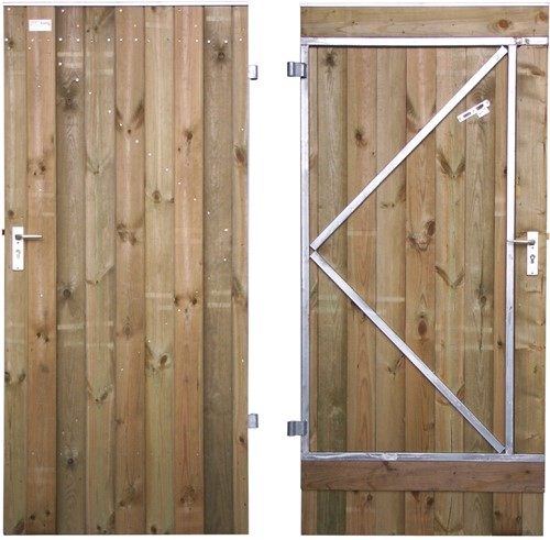 Tuindeur, dicht, enkelzijdig bekleed, op stalen frame, afm. 100 x 190 cm, rabat