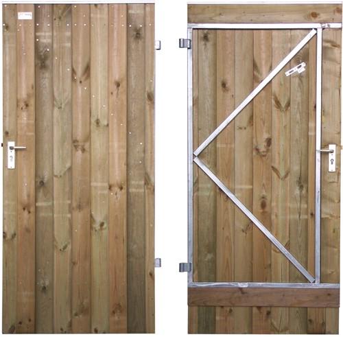Tuindeur, dicht, enkelzijdig bekleed, op stalen frame, afm.  90 x 190 cm, rabat