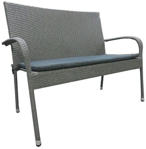 Tuinbank Priscilla, afm.120 x 64 x 94 cm, aluminium frame met platte wicker, incl. kussen, antraciet/grijs