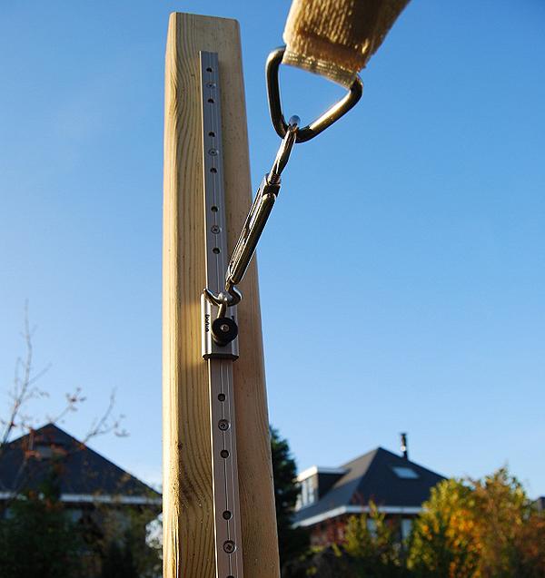 Rails met oog, lengte 1 m, aluminium, voor bevestiging van Nesling schaduwdoek