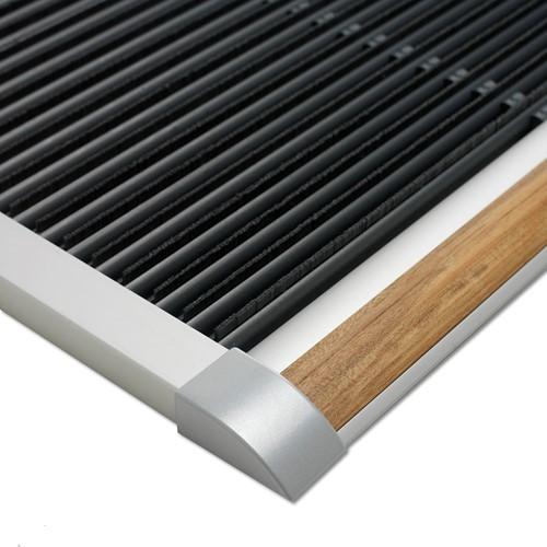 RiZZ schoonloopmat, afm. 120 x 70 cm, zilverkleurig aluminium frame, teak inleg