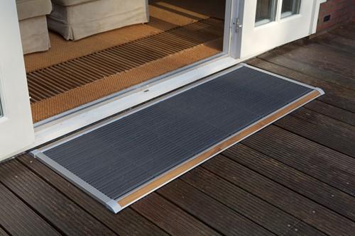 RiZZ schoonloopmat, afm. 175 x 70 cm, zilverkleurig aluminium frame, teak inleg