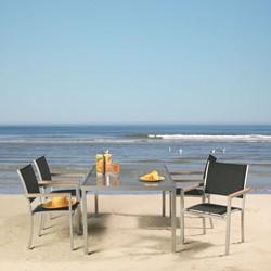 Tuinset Satelite: Star tafel afm. 160 x 100 cm, 4 stoelen met teak armleggers