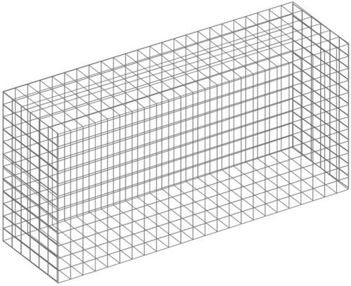 Schanskorf, afm.  60 x 30 x 30 cm, verzinkt staal, maas 5 x 5 cm.