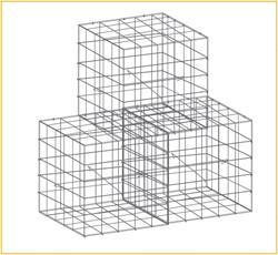 Schanskorf, afm.  50 x 50 x 50 cm, verzinkt staal, maas 10 x 10 cm