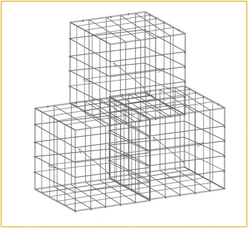 Schanskorf, afm. 100 x 50 x 50 cm, verzinkt staal, maas 10 x 10 cm