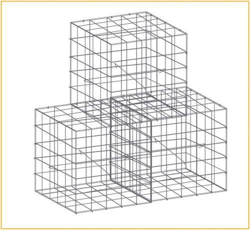 Schanskorf, afm. 150 x 50 x 50 cm, verzinkt staal, maas 10 x 10-1