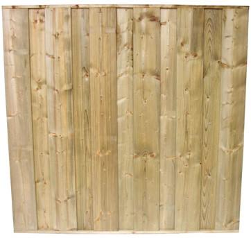 hout/betonschutting 12x12, dichtscherm, geïmpregn. deksloof, enkelzijdige motiefplaat, wit beton, per 0,96 m-3