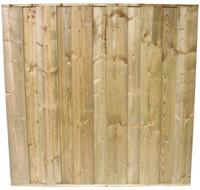 hout/betonschutting 12x12, dichtscherm, geïmpregneerde deksloof, 2 enkelzijdige motiefplaten, wit beton, per 0,96 m-3