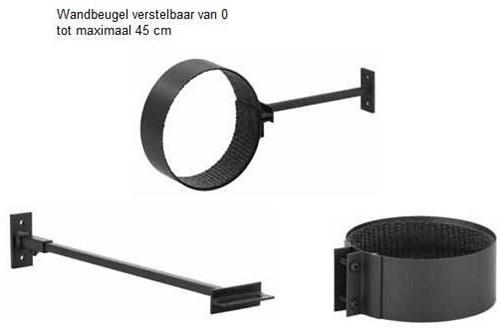 Burni muurbeugel, diam 154 mm, zwart gecoat staal