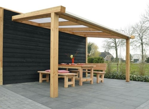 Hillhout douglas veranda Excellent 400, afm. 428 x 300 cm, heldere dakplaat-2