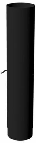 Burni afvoerelement met regelklep, diam. 154 mm, lengte 750 mm, zwart gecoat staal