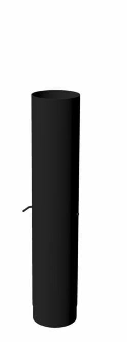 Burni verwarming Burni kachelpijp met regelklep, diam. 154 mm, lengte 750 mm, zwart gecoat staal