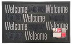 Deurmat Sorba, afm. 45 x 75 cm, met opschrift Welcome Goodbye, grijs/zwart
