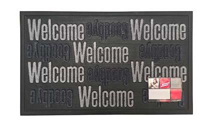 MD-Entree deurmatten Deurmat Sorba, afm. 45 x 75 cm, met opschrift Welcome Goodbye, grijs/zwart