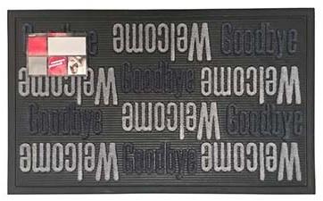 Deurmat Sorba, afm. 45 x 75 cm, met opschrift Welcome Goodbye, grijs/zwart-2