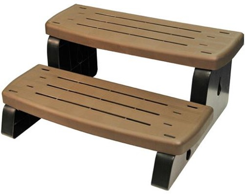 Spa-step, 2-traps opstap, kleur walnut bruin