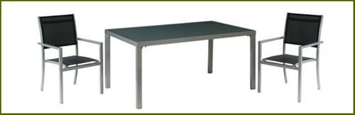 Tuinset Moon: Star tafel  afm.160 x 100 cm, 4 Moon stoelen, op=op