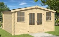 Blokhut Dallas, 376 x 292 cm, met dubbele deur, zadeldak, houtdikte 28 mm, vuren - onbehandeld vuren