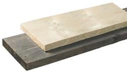 steigerplank donkergrijs, afm.  2,8 x  19,5 cm, lengte 500 cm