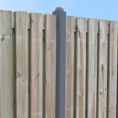 beton t-paal met bolkop voor hout/betonschutting 10x10, lengte 310 cm, antraciet glad
