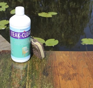 Hermadix teak-cleaner, fles 1 liter,  incl. schuurspons -3