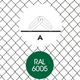 Tennisdraad, hoogte 200 cm, maaswijdte 5,0 cm, groen geplastificeerd, rol 25 m.-2