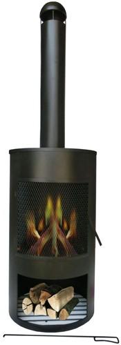 Tuinhaard Drumpot, diam. 45 cm, hoogte 158 cm, zwart gepoedercoat metaal