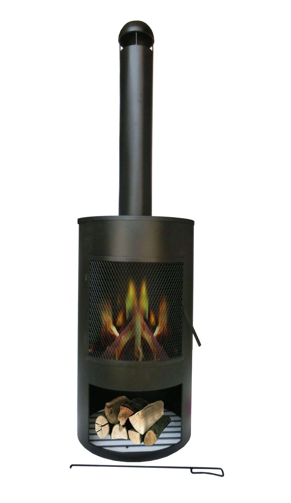 SenS-Line Tuinhaard Drumpot, diam. 45 cm, hoogte 158 cm, zwart gepoedercoat metaal