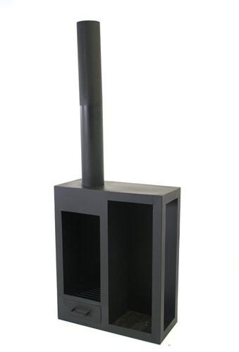 Terrashaard Eagle,  80 x 35 cm, hoogte 210 cm, zwart gepoedercoat metaal