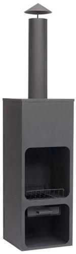 Terrashaard Hotpot, afm.  45 x 45 cm, hoogte 199, zwart gepoedercoat metaal