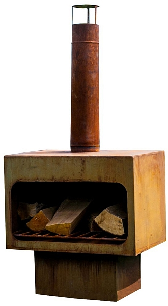 Red Fire tuinhaard RedFire tuinhaard Jersey XL, afm. 56 x 40 cm, hoogte 120 cm, staal, roest