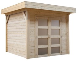 Blokhut Koekoek, afm. 300 x 200 cm, plat dak, houtdikte 28 mm, blank vuren