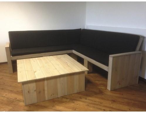 Loungeset Toronto, hoekbank 200 x 200 cm met tafel en kussens, FSC grenen, showmodel-3