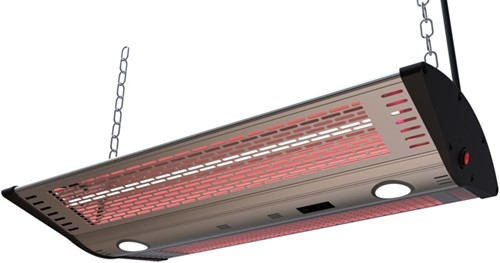Sunred elektrische terrasheater Triple-S, Golden Tube, vermogen 2000 W, hangmodel, rvs