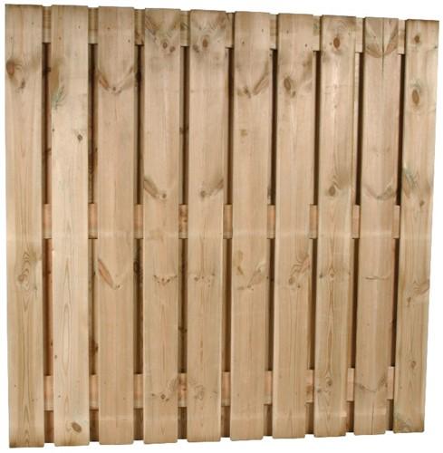 hout/betonschutting 10x10, 22-planks tuinscherm, dubbele plaat, lichtgewicht beton wit, per 0,95 m-3