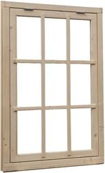 Uitzetraam 9-ruits, buitenmaat 91 x 136 cm, vurenhout