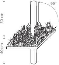Umbrosa Ingenua paalsteun voor verankering met beton, 90 graden recht
