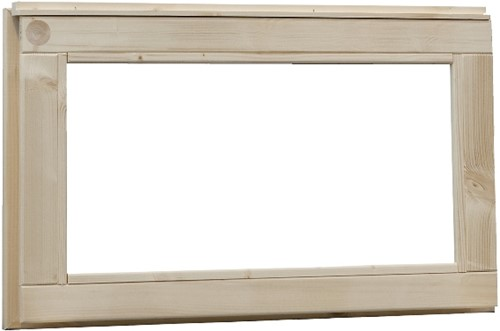 Vast raam, buitenmaat 72 x 45 cm, melkglas, vurenhout