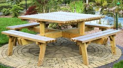 Picknicktafel, vierkant, afm. 220 x 220 x 74 cm, geimpregneerd grenen, houtdikte 42 mm